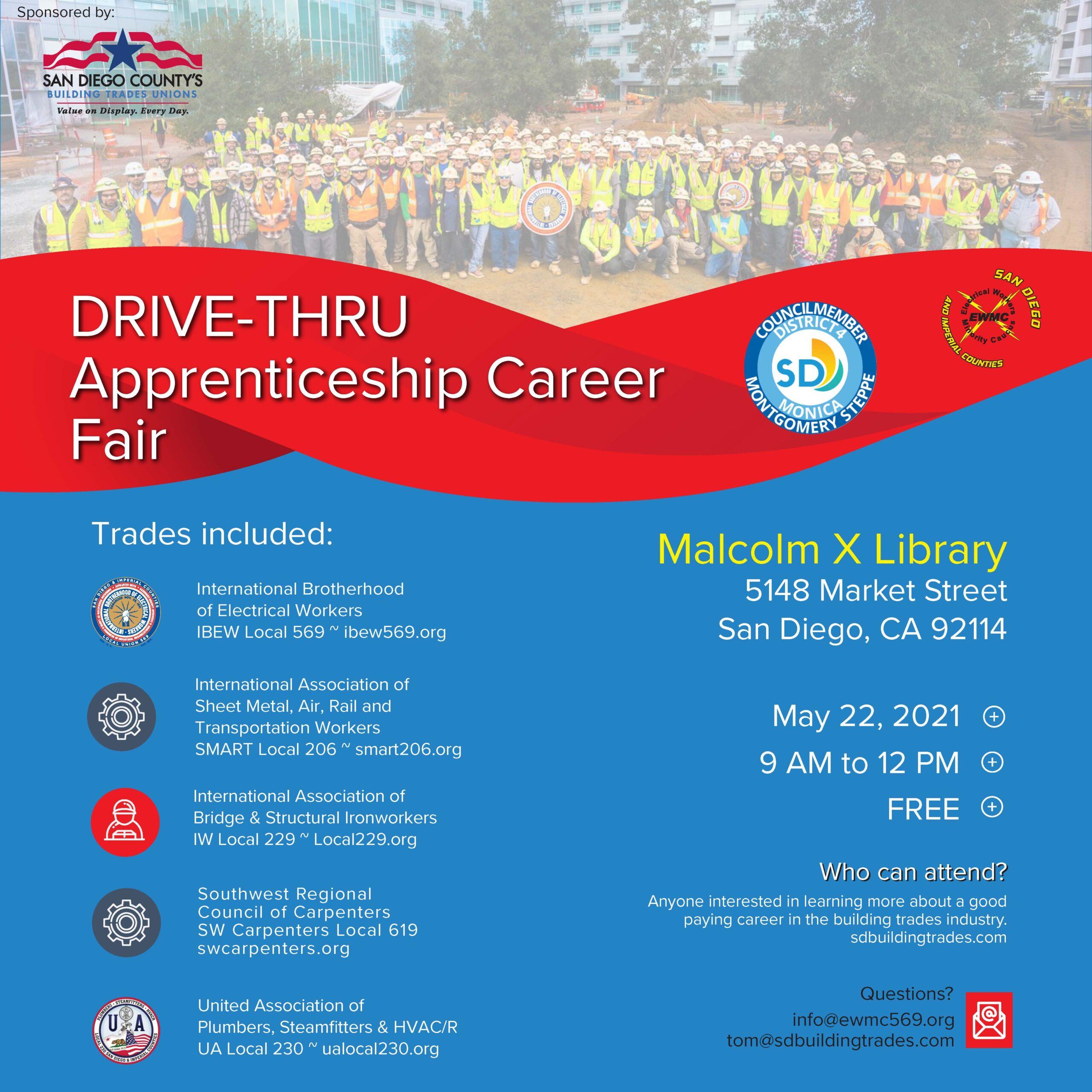 SD Building Trades Drive-Thru Apprenticeship Career Fair @ Malcolm X Library